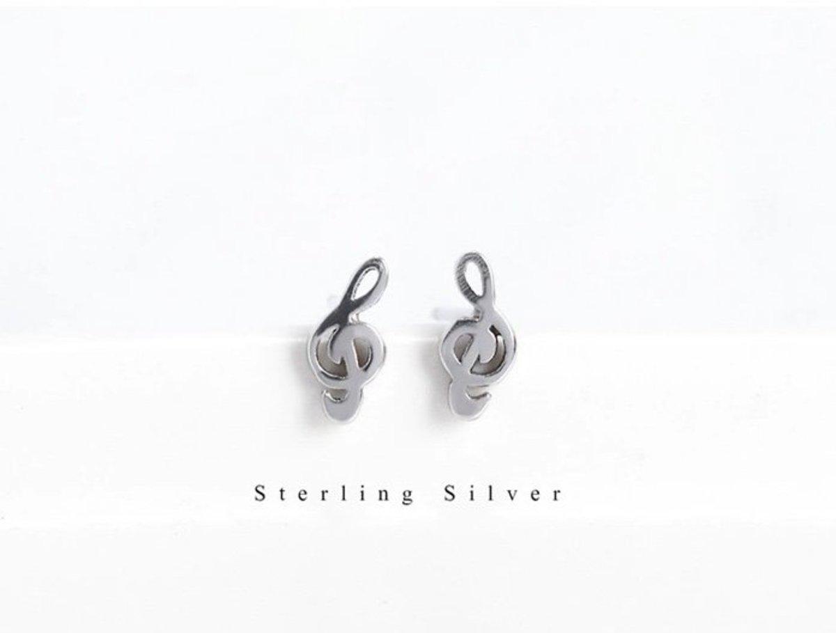 S925純銀日韓簡約防過敏耳釘耳環(音樂符號)
