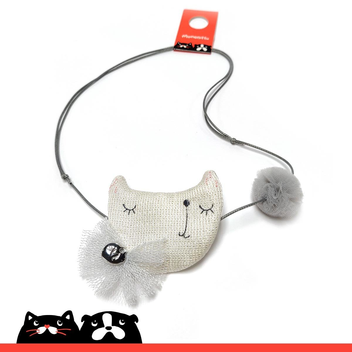 Grey Cat's Face with Pompom Necklace