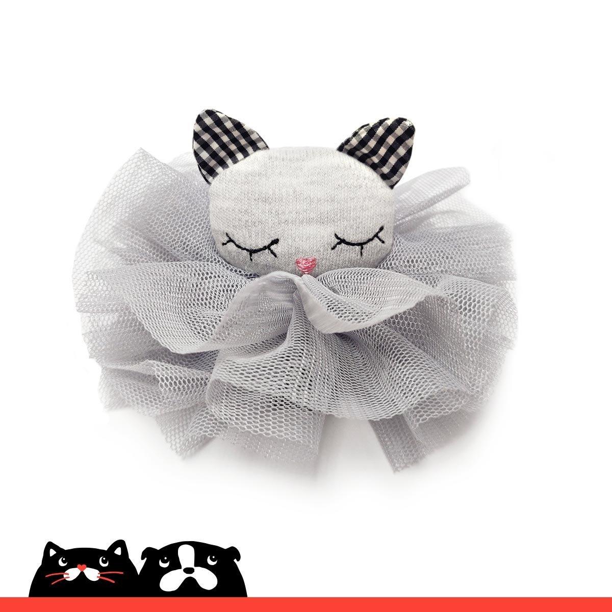 Grey Kitten with Mesh Hair Clip