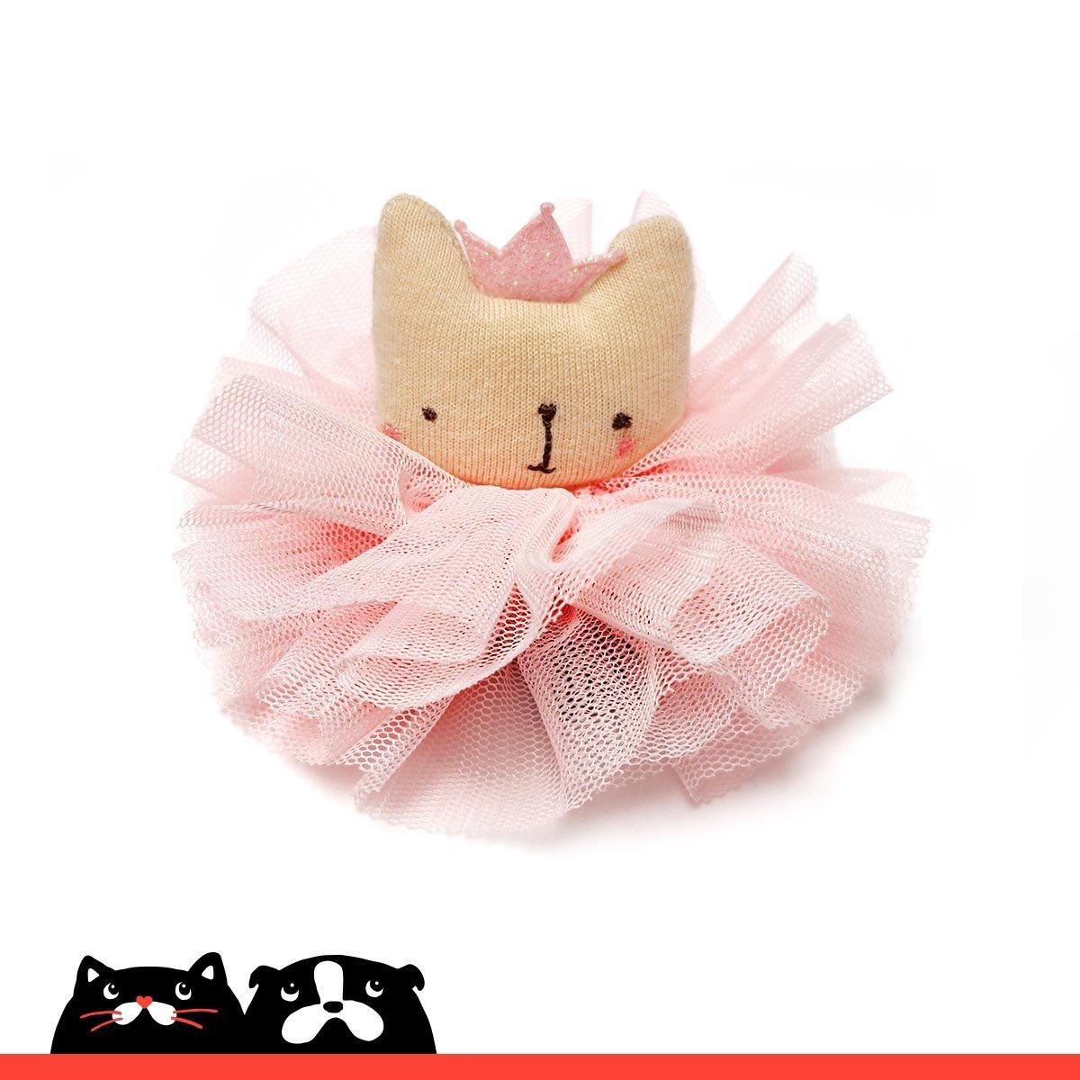 Pink Princess Kitten with Mesh Hair Clip