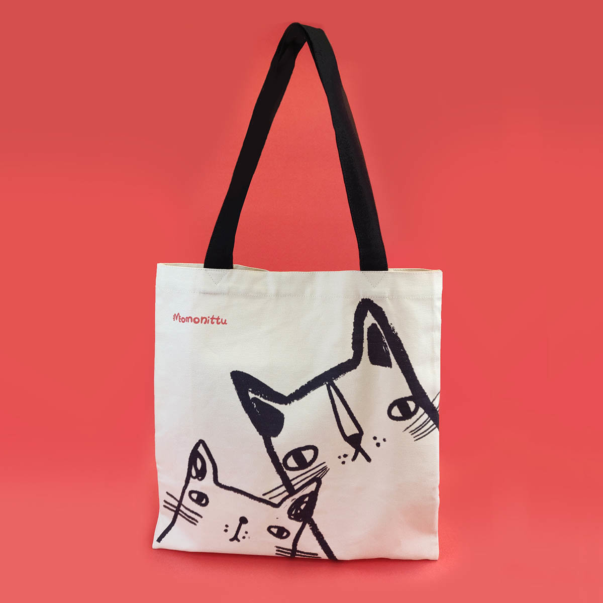 Tote Bag with Cats Print