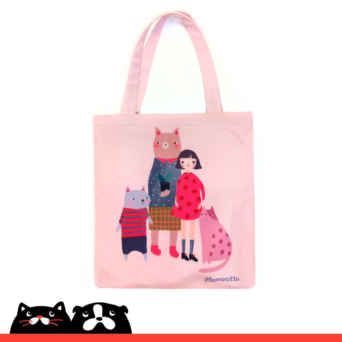 Pink Cat & Dog Family Print Tote Bag