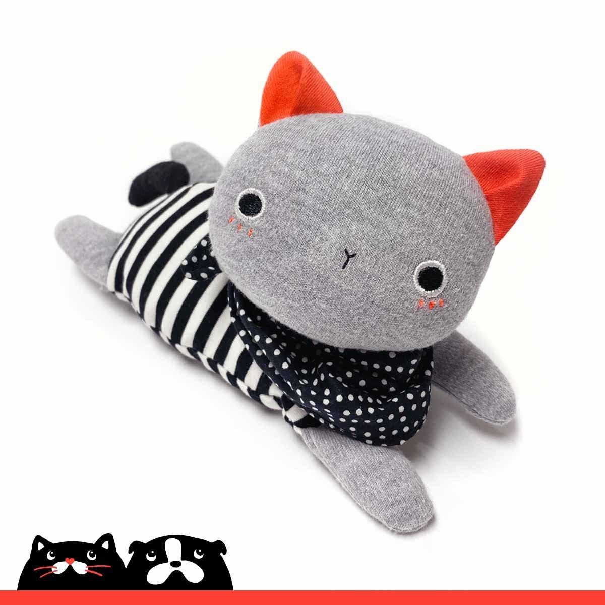 Small Grey Bean Bag Kitten Soft Toy