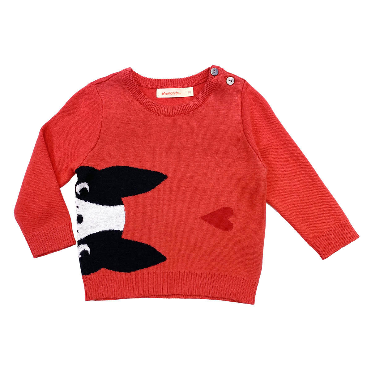 Momonittu - Cotton Sweater with Dog Face and Red Heart