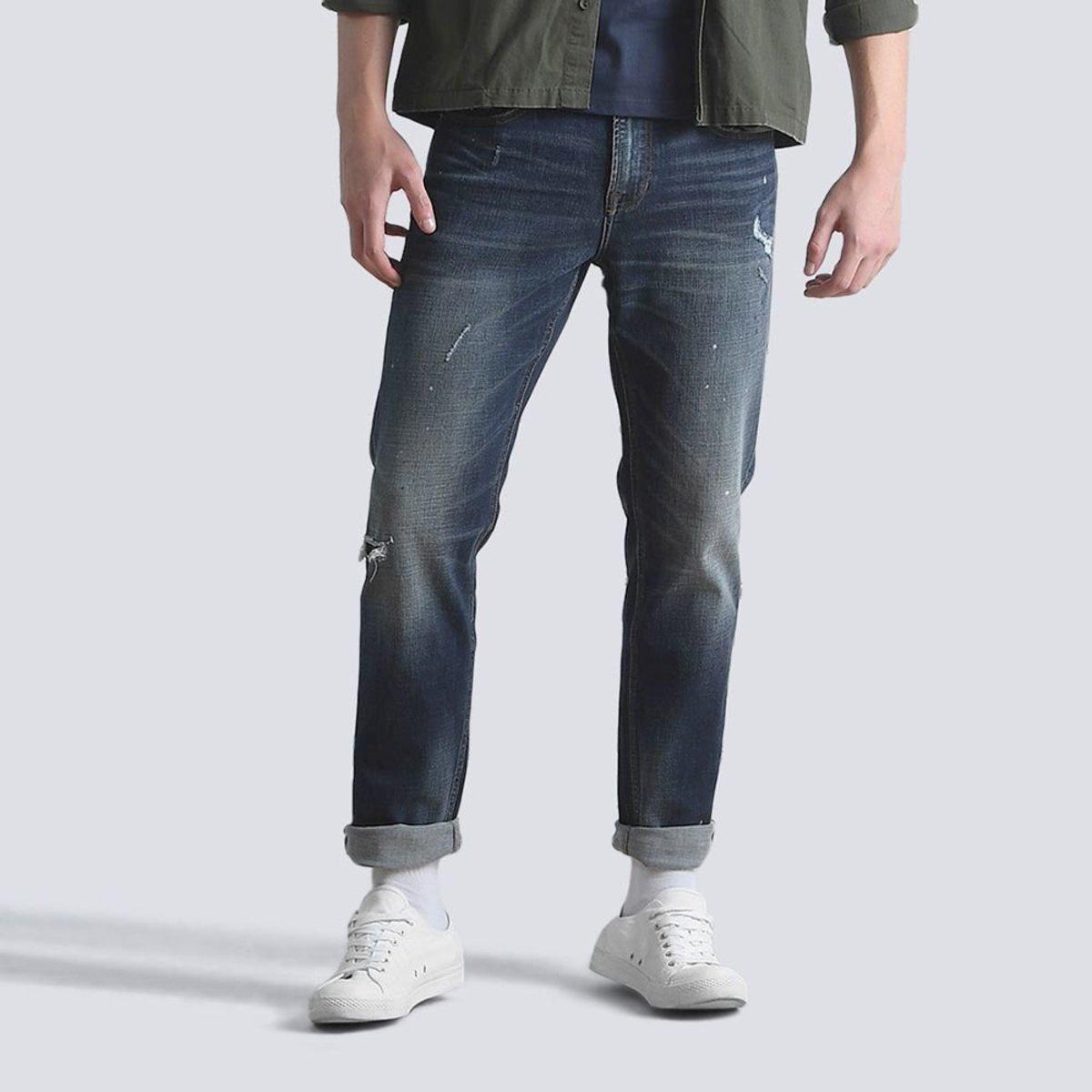 Men's Straight Paint Splatter Wash Jeans