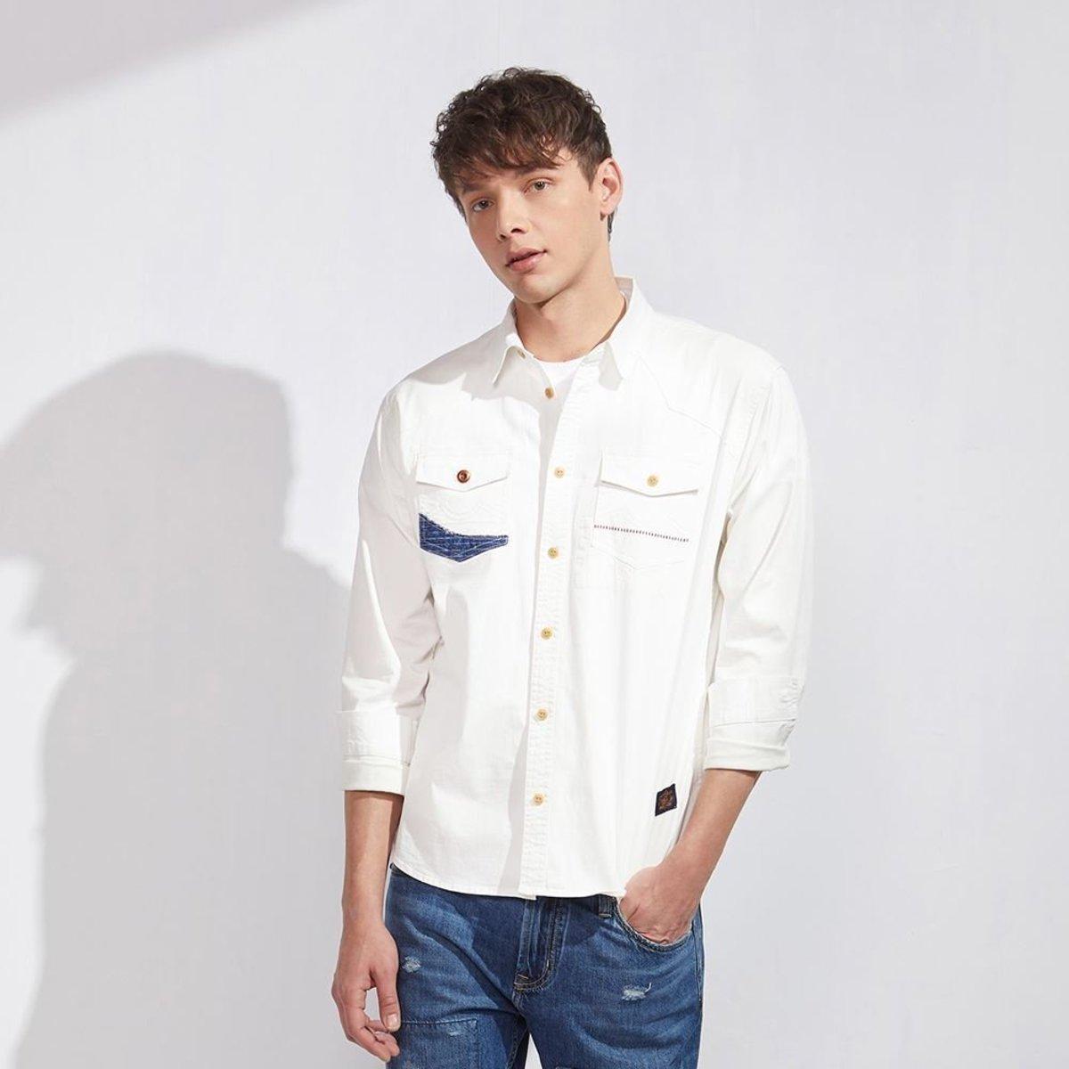 男裝補布長袖牛仔恤衫