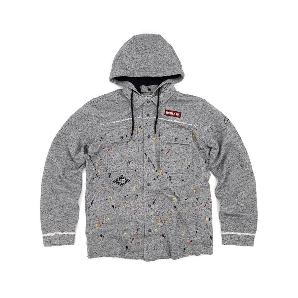 Men's Biker Knitted Detachable Hood Shirt Jacket