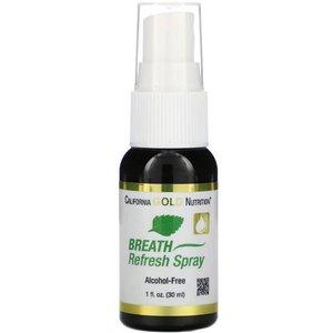 California Gold Nutrition Breath Refresh Spray, Natural Peppermint, Alcohol-Free, 1 fl oz (30 ml)