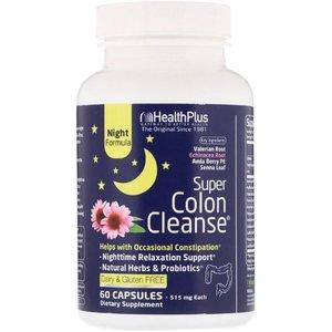 Health Plus Super Colon Cleanse, Night, 515 mg, 60 Capsules