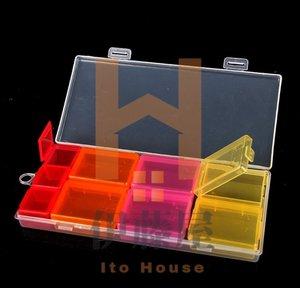 KM 日本品牌KM大容量 彩色藥盒 七彩塑料收納盒 便攜式分格 旅行藥盒9格 藥盒 收納盒 (1枚入)