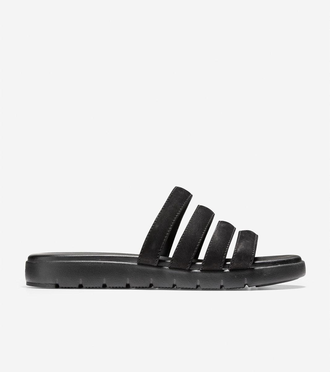 Women's ZERØGRAND Multi Strap Sandal(Black Leather) US 5