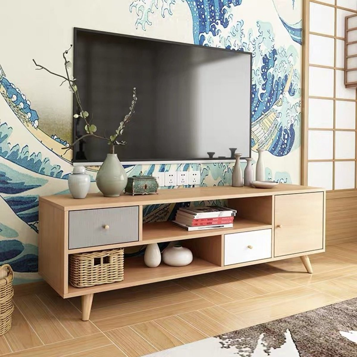 HH-DSG01-C Package Installation Simple Japanese Style TV Cabinet-165cm