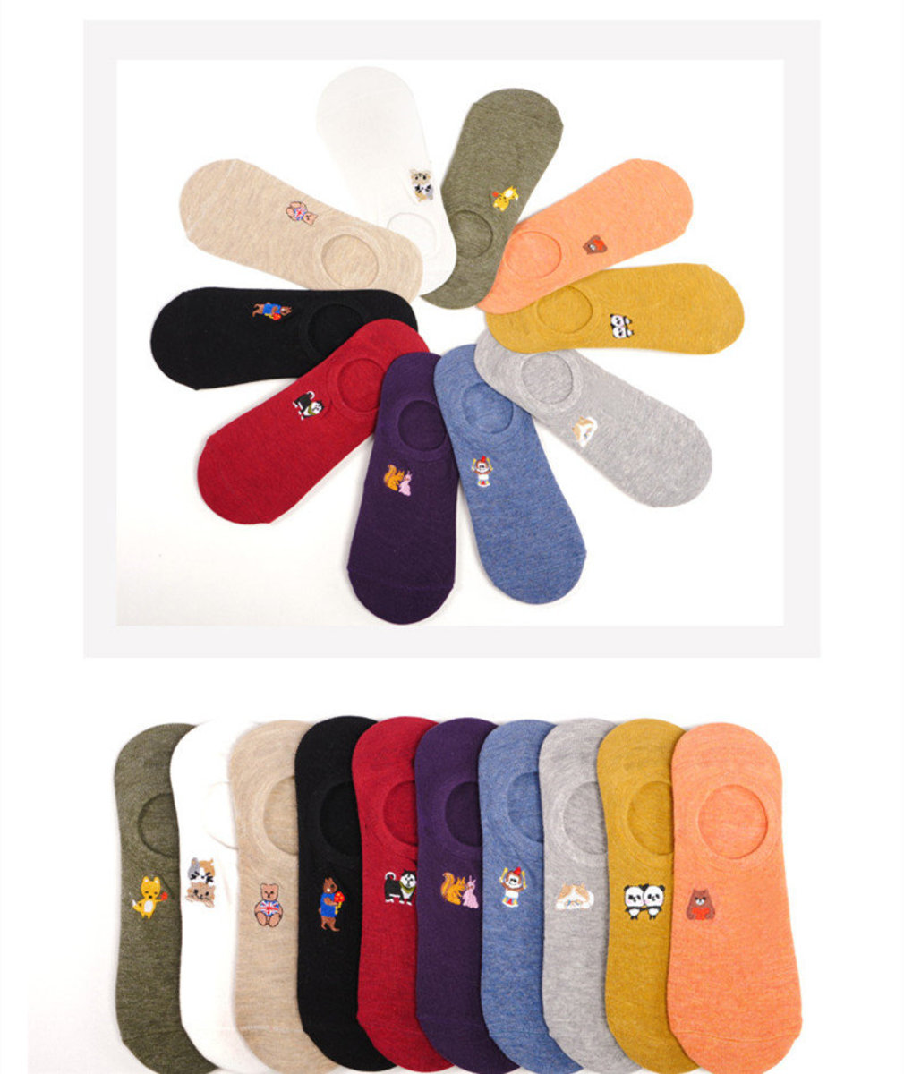 【5 pairs - Mixed color, random shipment】 Japanee-style non-slip Animal cotton boat Socks for Women
