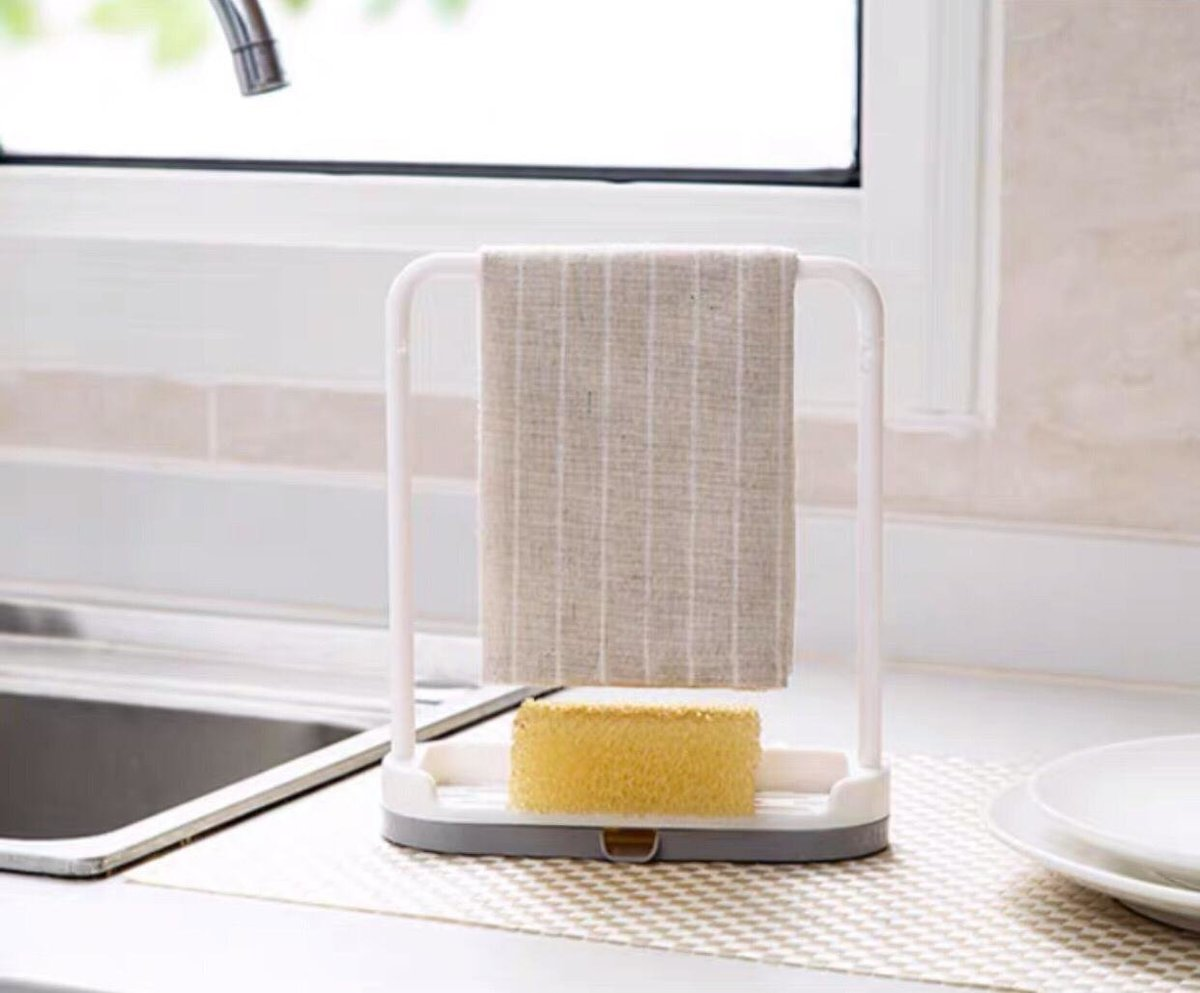 1PC Muti-function Kitchen countertop towel storage rack【Beige】