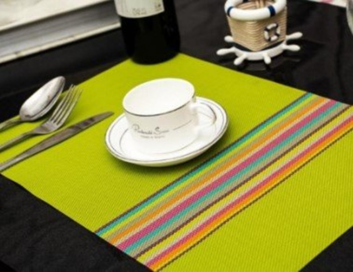 PVC Table Mat heat insulation washable pad【Green】