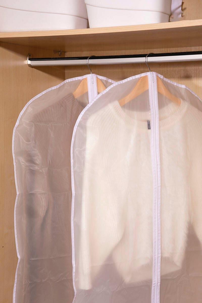 【一套2件】磨砂透明防塵衣罩 衣物防塵袋 掛式套【大碼】