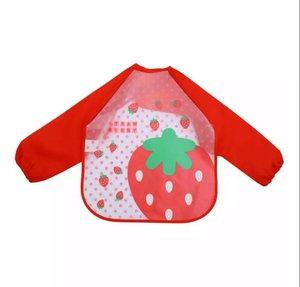 Four Pigs 1件 嬰兒幼童長袖防水 圍兜 吃飯圍兜 長袖防水上衣 -士多啤利款 紅色