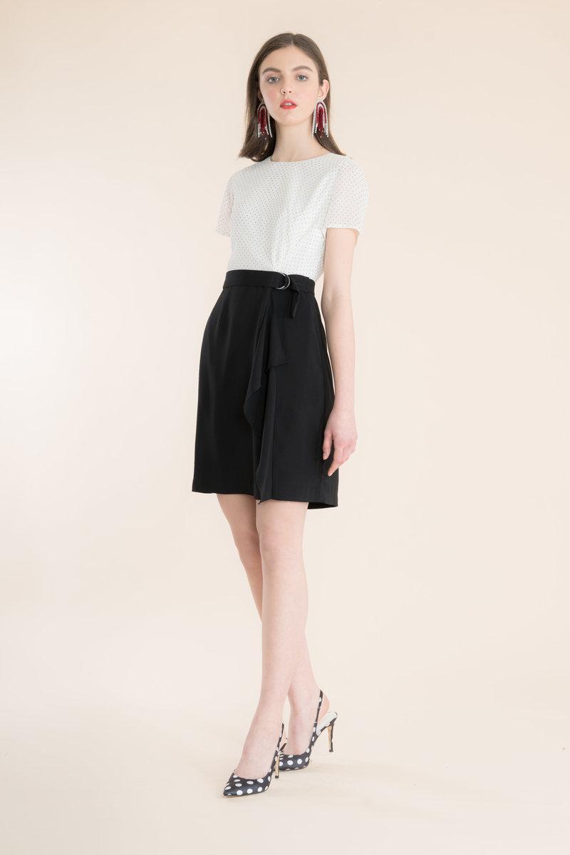 poka dot mix pattern dress_DRSW4000120