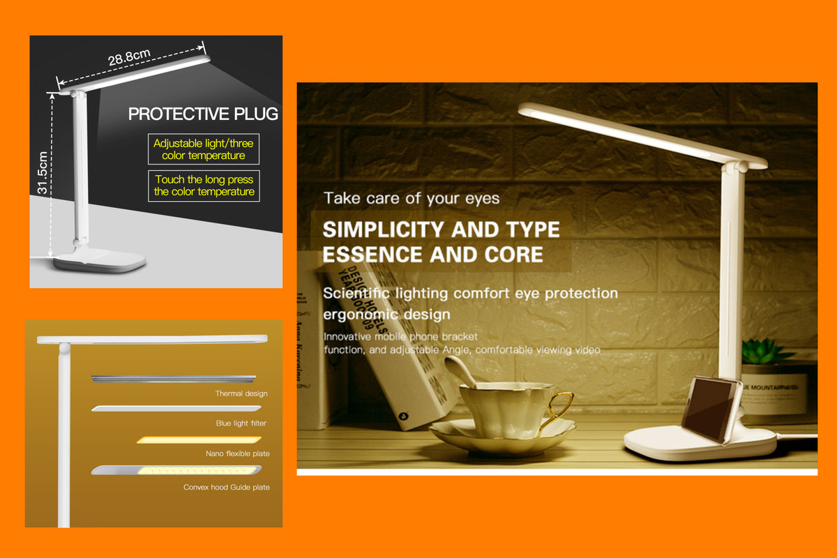 Eye Protection Wireless LED Desk Lamp, Built-in power USB Charge