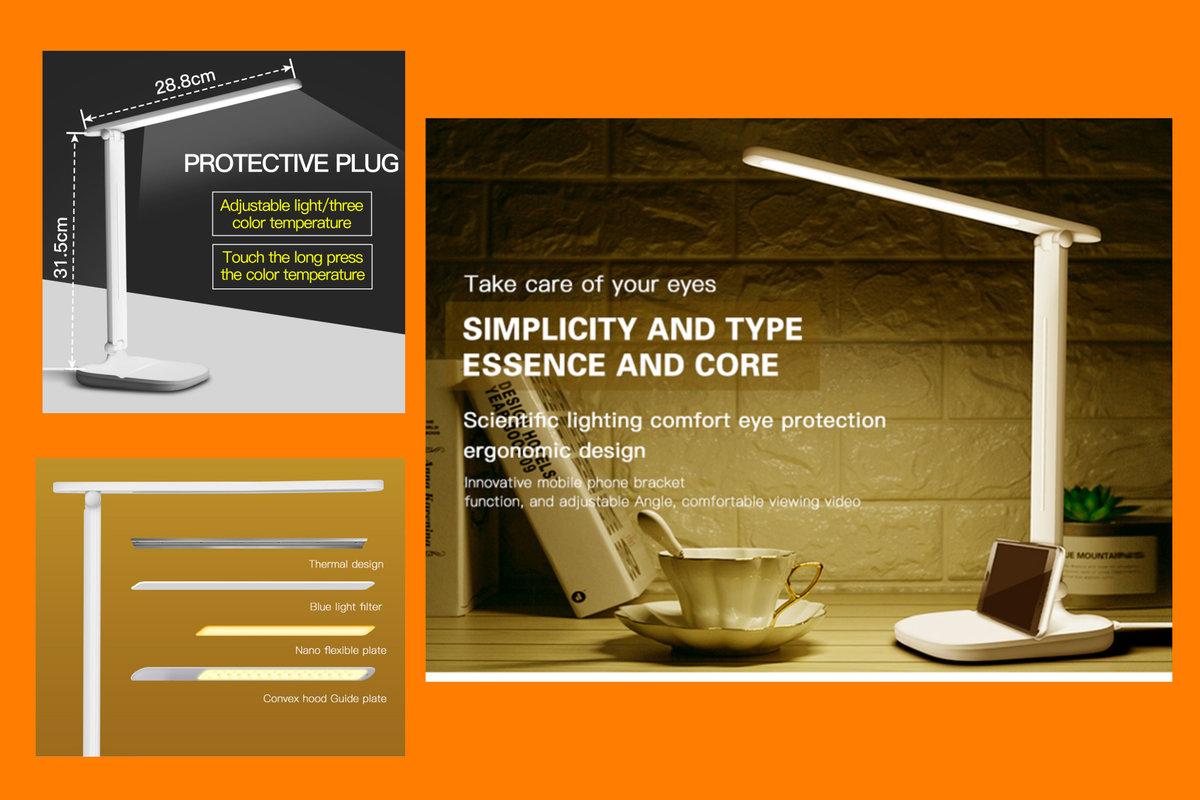 護目無線LED書枱燈三段色溫多角度,內置電源USB充電
