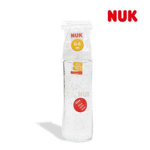 NUK 玻璃奶瓶240ml (矽膠奶嘴)0至6個月適用 *1 支 (平行進口)