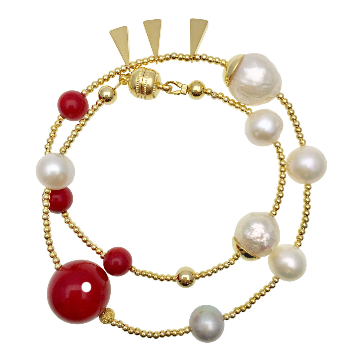 Freshwater Pearls With Red Bamboo Coral Double Wrapped Bracelet