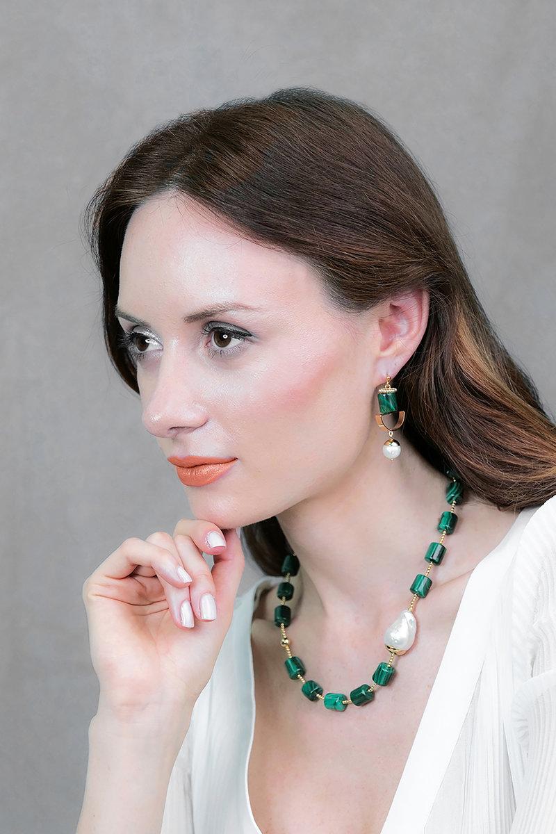 Malachite & Freshwater Pearls Geo Earrings