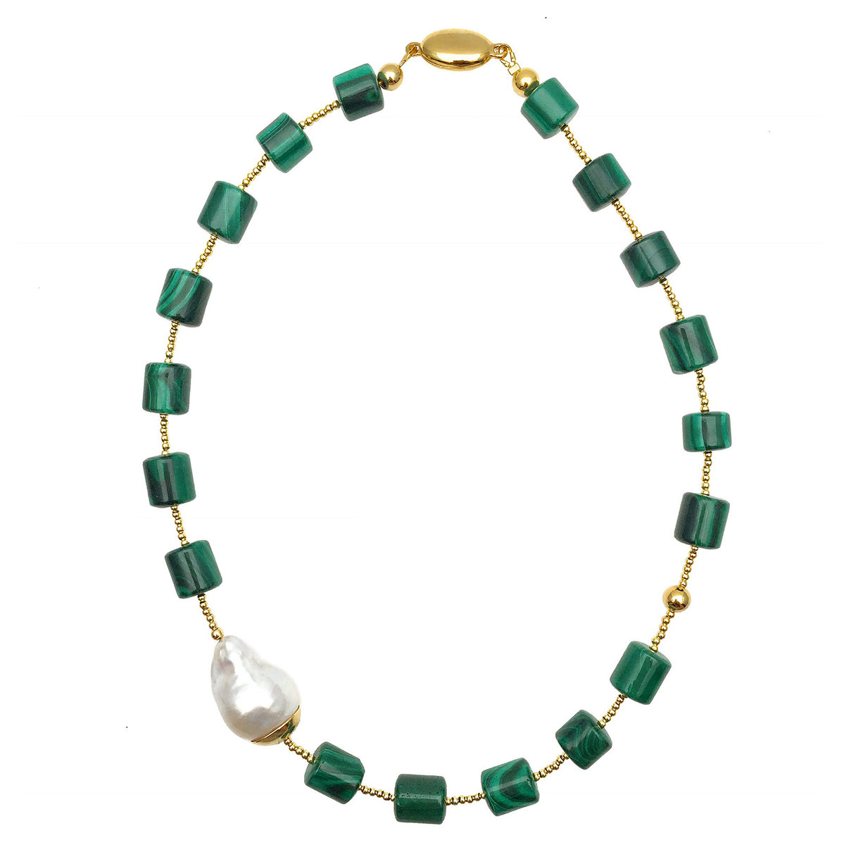 Malachite With Baroque Pearl Necklace
