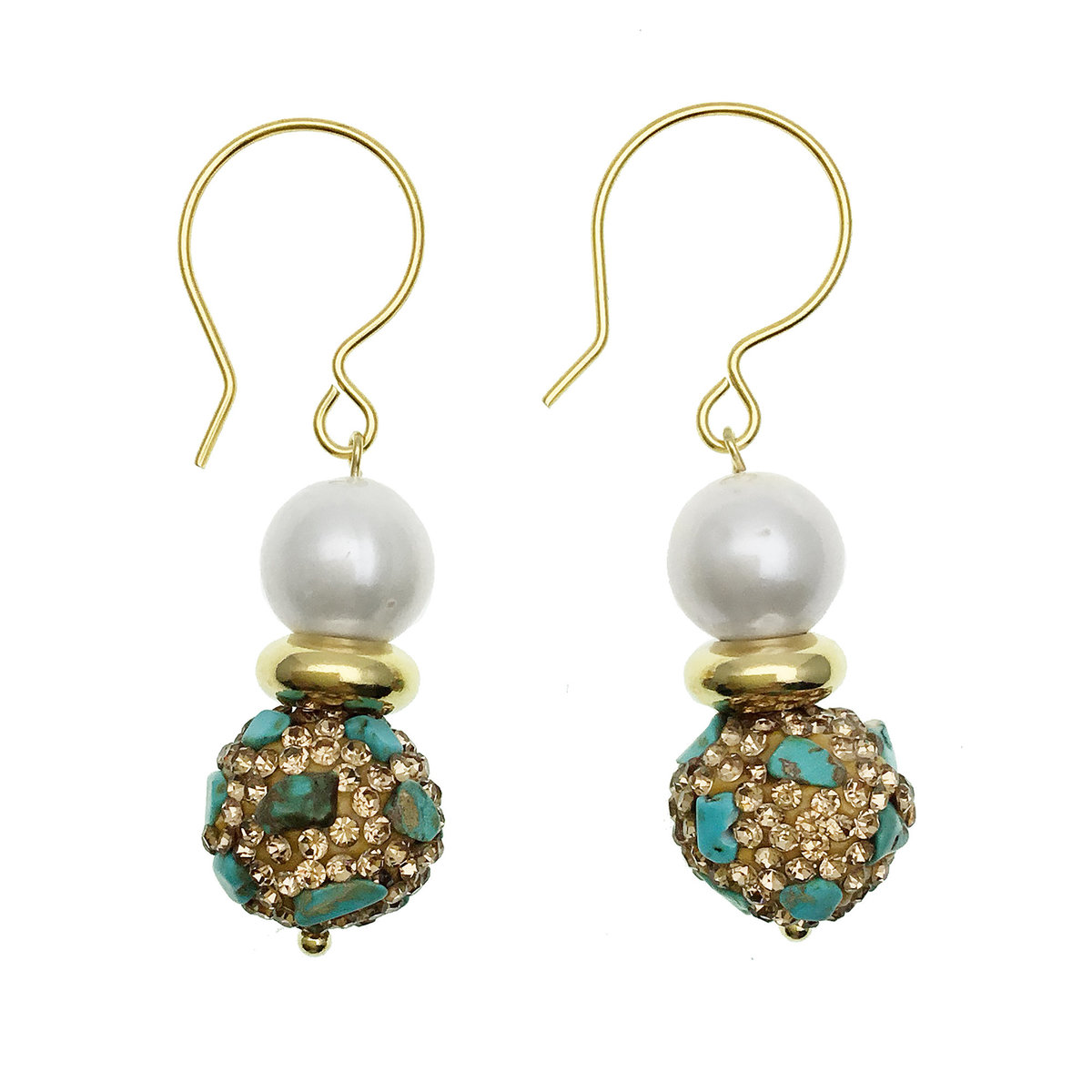 Freshwater Pearl With Rhinestone Bordered Turquoise Hook Earrings