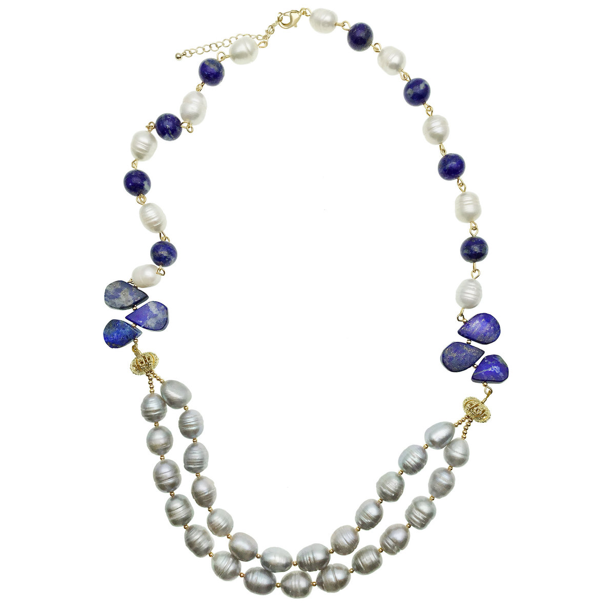 Freshwater Pearls & Lapis Double Strands Necklce