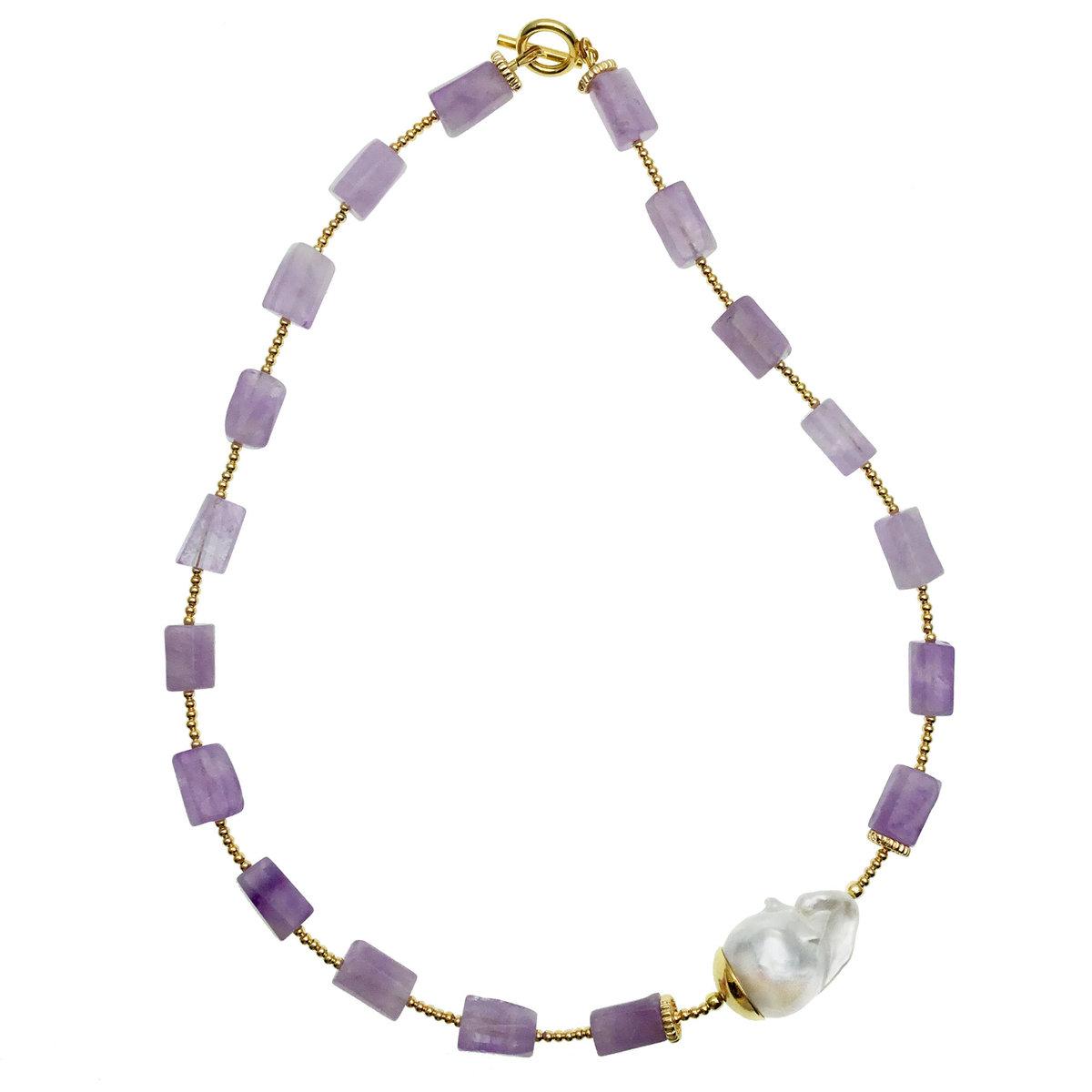 Natural Amethyst & Baroque Simple Necklace