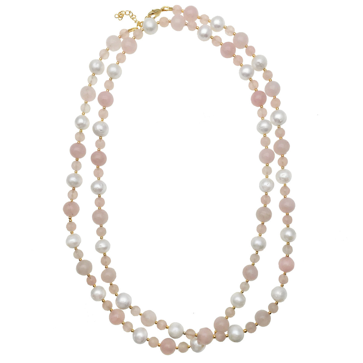 Freshwater Pearls & Rose Quartz Multi-Way Necklace