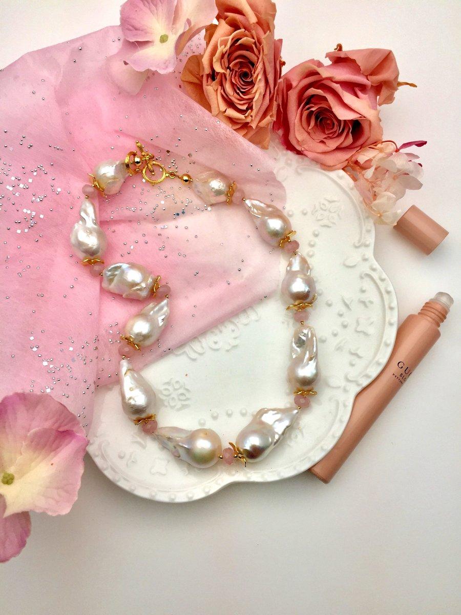 Baroque Pearls With Rose Quartz Short Necklace