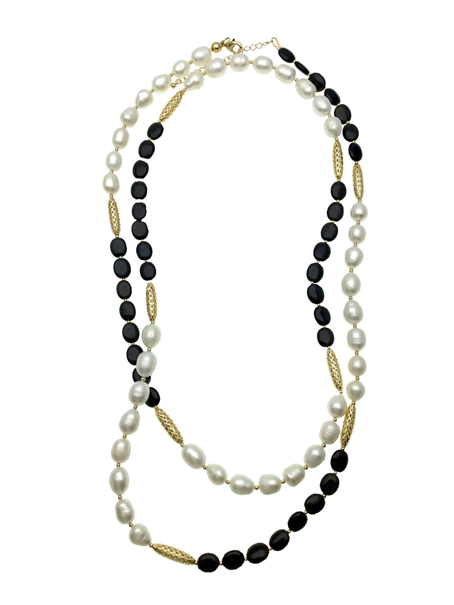 Freshwater Pearls Black Agate Multi-way Necklace