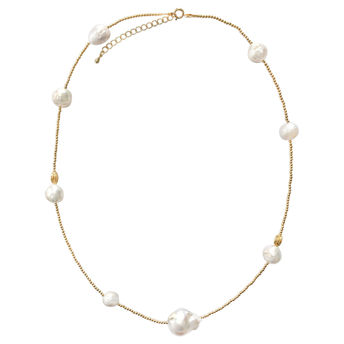 Freshwater Edison pearls with nugget Baroque pearls necklace