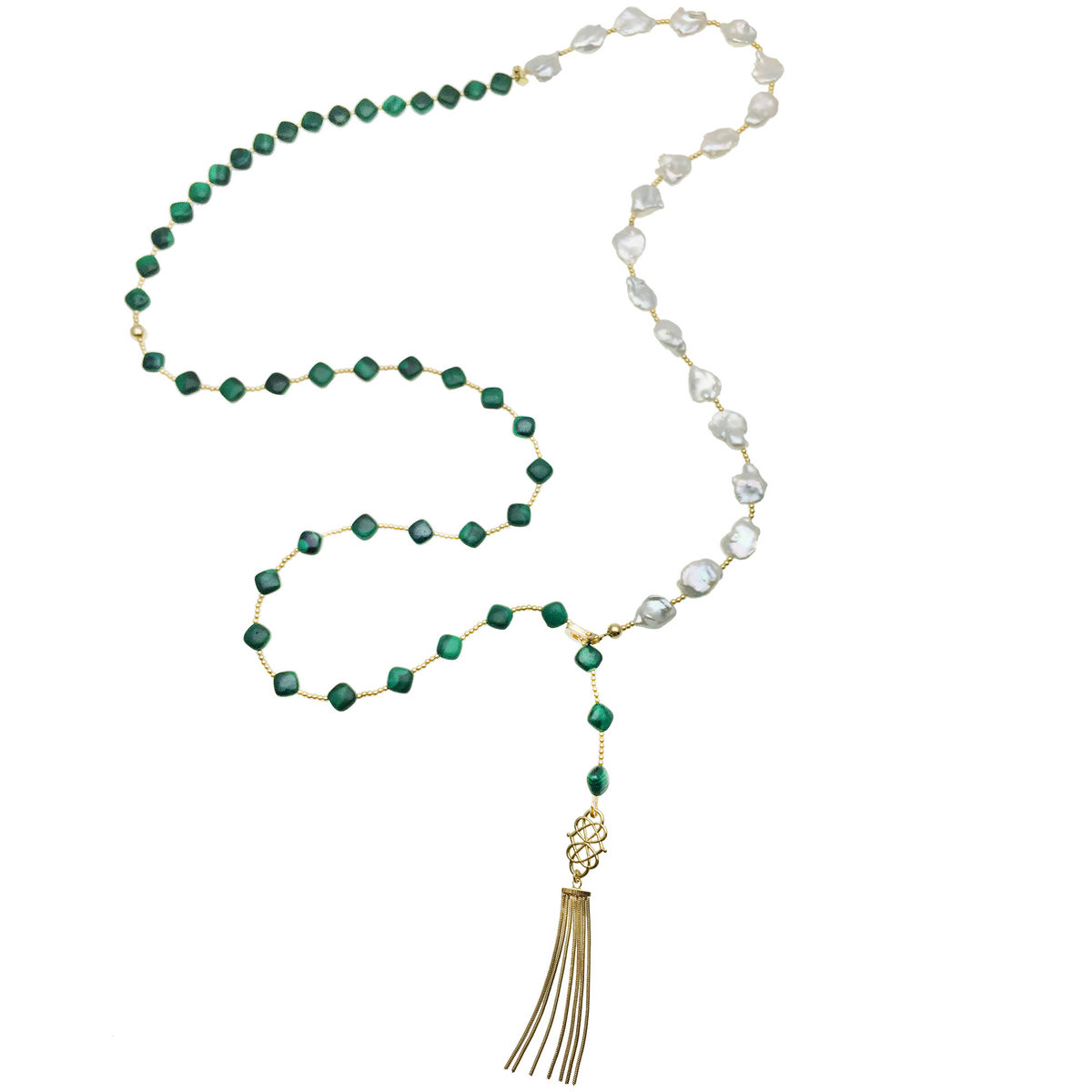 Malachite & Freshwater Pearls With Tassel Y-Necklace