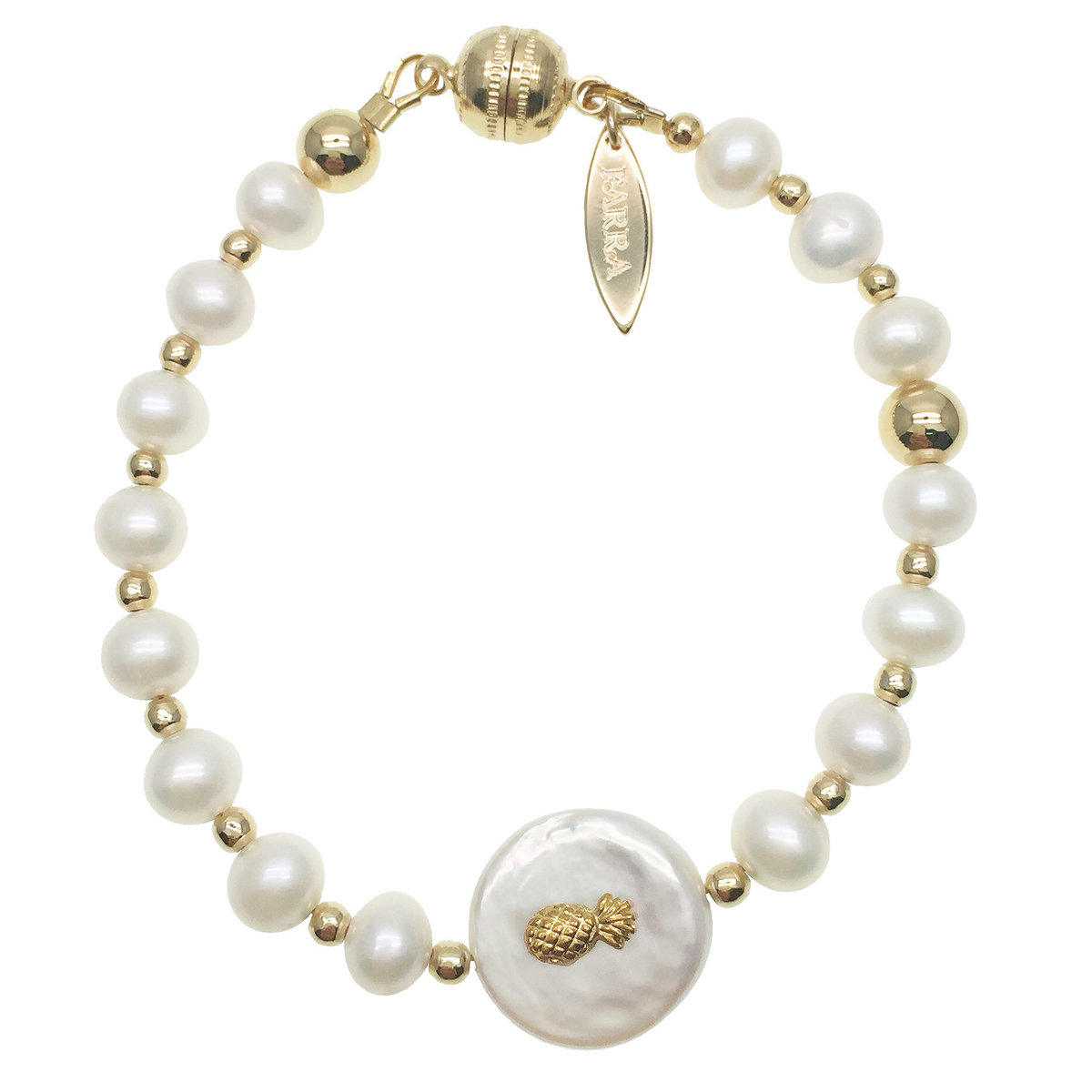Freshwater Pearls With Pineapple Charm Bracelet