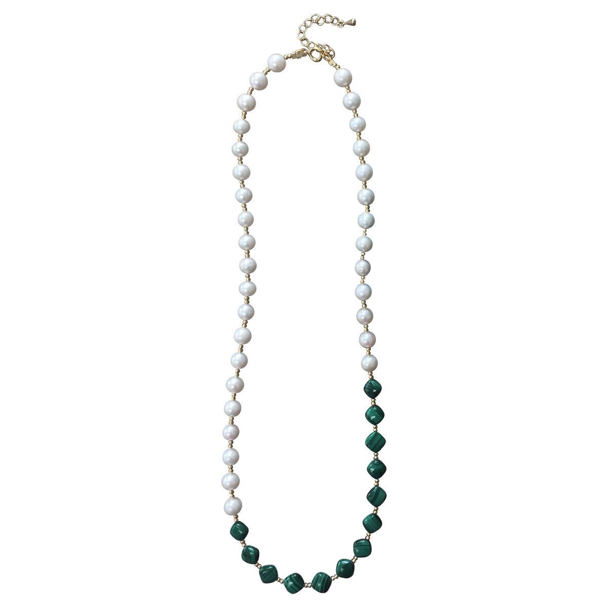 Natural freshwater pearls and malachite choker