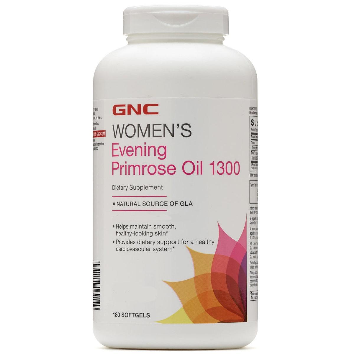 GNC Women's Evening Primrose Oil 1300 mg 180 Softgels (EXP: 12/2021)