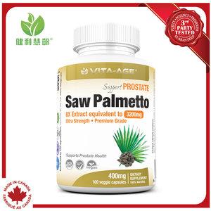 健利慧齡 鋸棕櫚護前列幫助防脫髮 Saw Palmetto 每粒400mg 超強8X提取, 等於3200mg鋸棕櫚漿果 100粒素⾷膠囊 100 粒膠囊