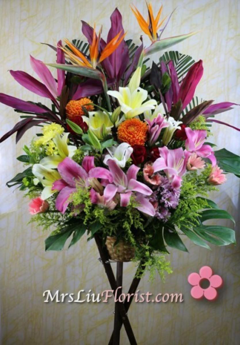G27 開張花籃 (太陽花+百合+天堂鳥+新加坡大菊+玫瑰花)
