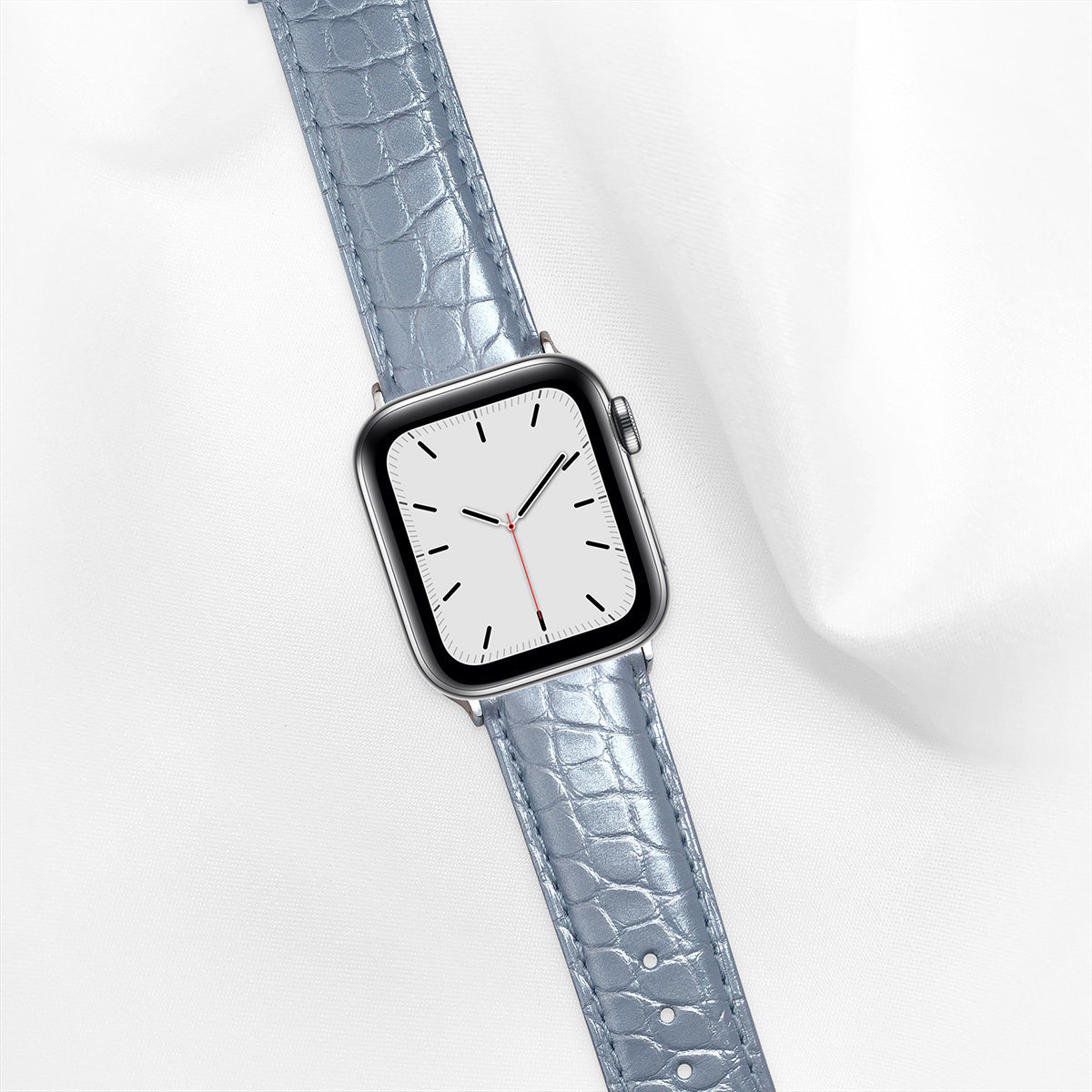 Pearl Alligator 40mm Apple Watch 5 Strap, Pearl Baby Blue, Round Scales, for Small Casing