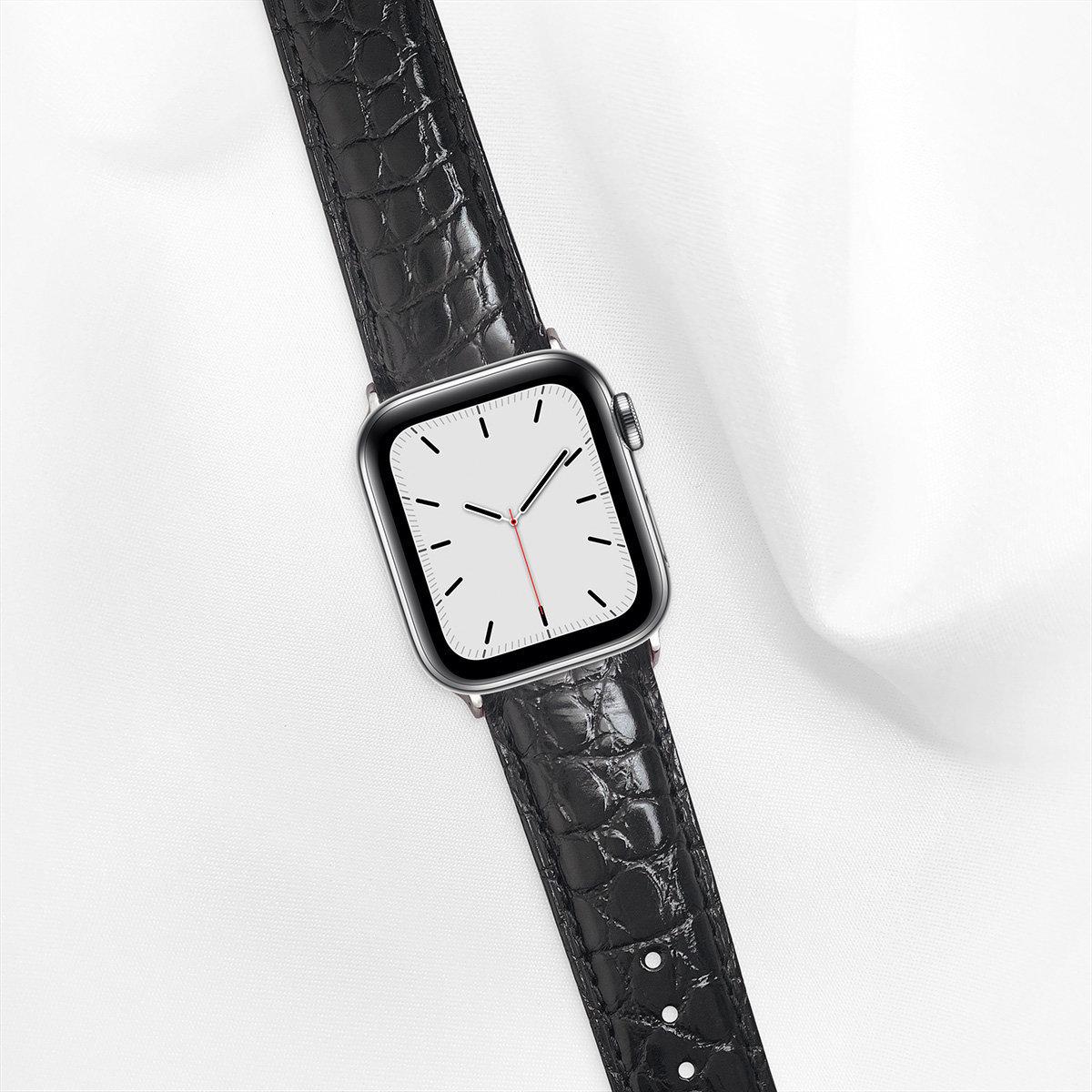 40mm Apple Watch Strap, Shiny Alligator, Black