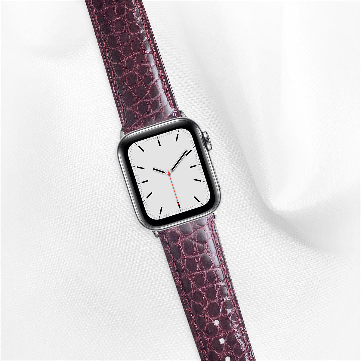 Shiny Alligator 40mm Apple Watch 5 Strap, Deep Wine Red, Round Scales, for Small Casing