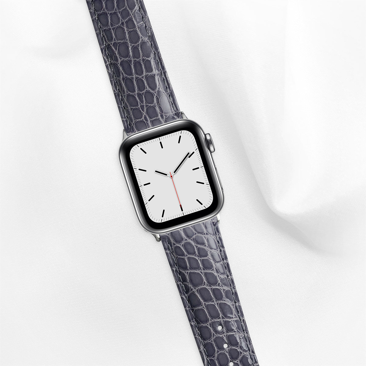 Shiny Alligator 40mm Apple Watch 5 Strap, Smokey Grey, Round Scales, for Small Casing
