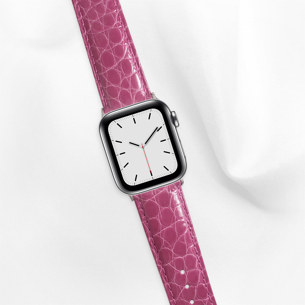 Shiny Alligator 40mm Apple Watch 5 Strap, Magenta, Round Scales, for Small Casing