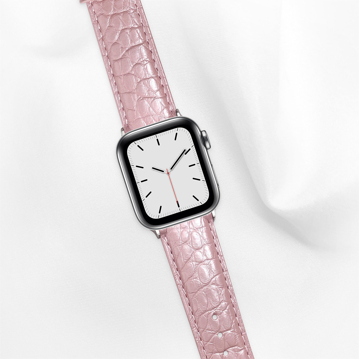 Pearl Alligator 40mm Apple Watch 5 Strap, Pearl Pink, Round Scales, for Small Casing