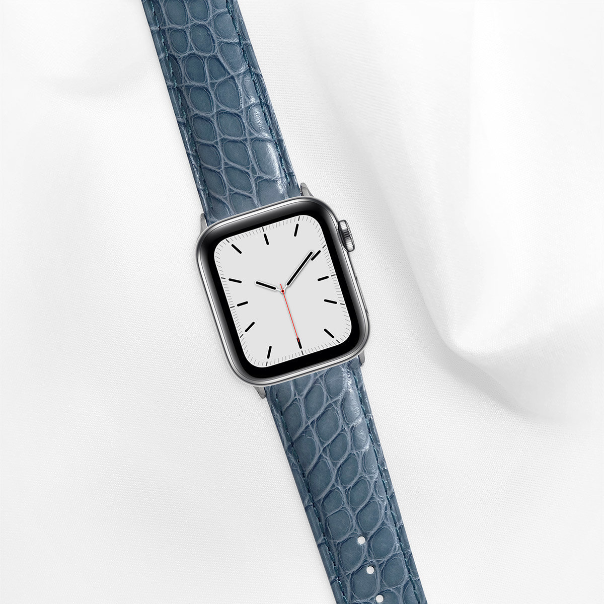 Shiny Alligator 40mm Apple Watch 5 Strap, Storm Blue, Round Scales, for Small Casing