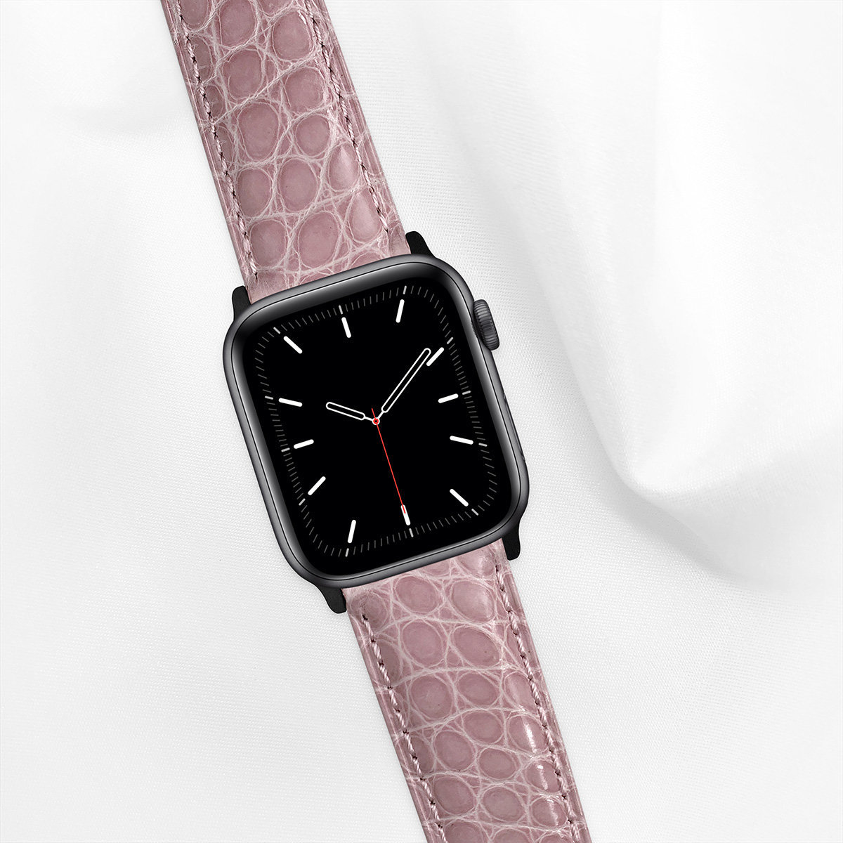 Shiny Alligator 44mm Apple Watch 5 Strap, Shaded Pink, Round Scales, for Large Casing