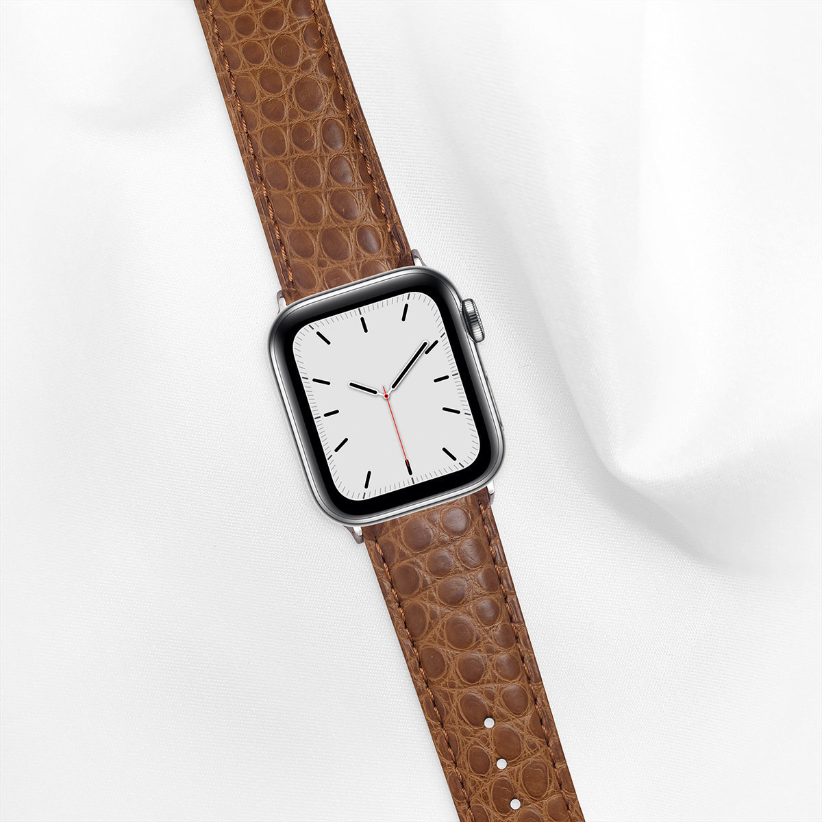 Matte Alligator 40mm Apple Watch 5 Strap, Camel Brown, Round Scales, for Small Casing